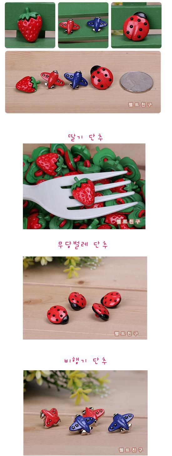 딸기,무당벌레,비행기단추