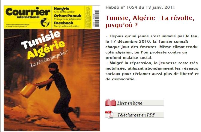 """튀니지,알제리, """"청년들이 봉기하다!"""""""