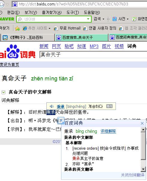 중국어 웹 중국어 사전