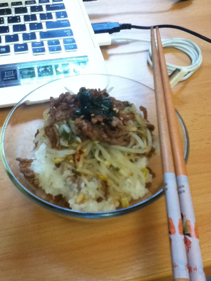 : 이가없어, 잇몸으로 만든 숙주나물 간장 비빔밥!