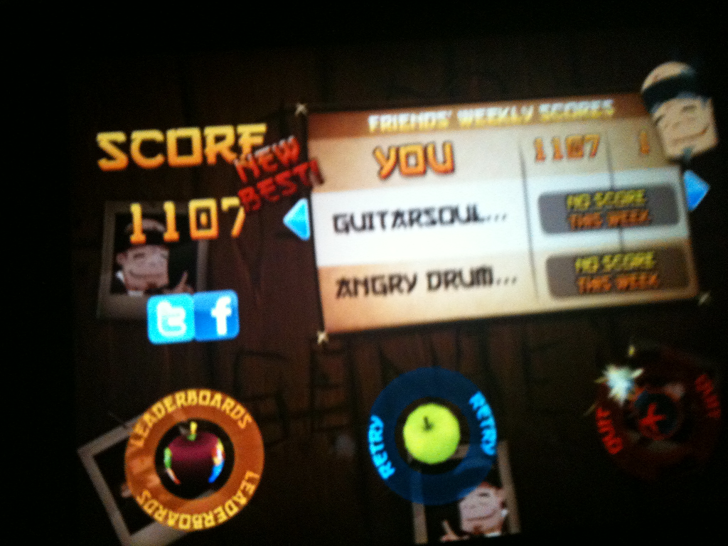 [iPad2]Fruit Ninja HD 1100점 기록!