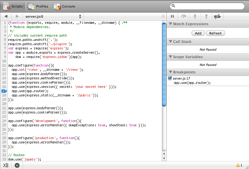 node.js 에서 debugger 를 사용해보자.