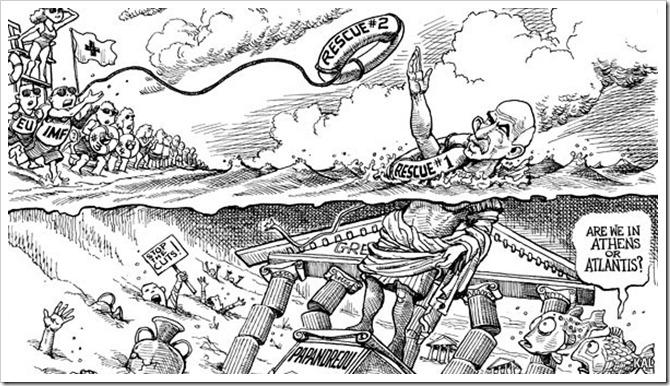 KAL's cartoon-그리스 지원, 가라앉는 동상에..