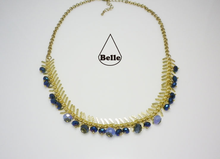 holly blue g ; 골드빛 가시체인 블루 크리스탈 비..