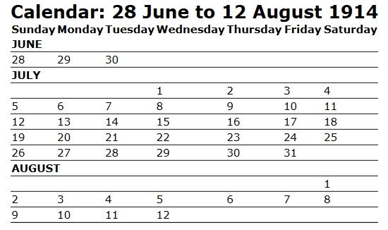 [자료]달력-1914년 6월 28일-8월 12일